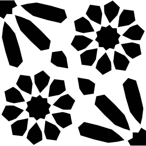 Tile25q reusable laser cut floor or wall quarter tile stencil - Moldes para pintar paredes ...