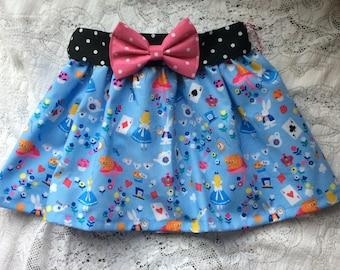 Disney Inspired Baby Toddler Girl Blue Alice in Wonderland Elastic Waist Skirt with bow belt