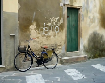 Bicycle by green door fine art photography print - bicycle photography print watercolour print