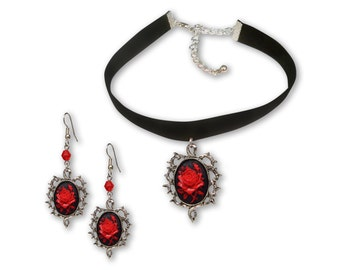 Gothic Red Rose Cameo Black Velvet Choker and Dangle Earrings Jewelry Gift Set CH-604-1011RB