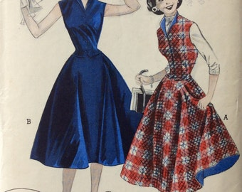 Butterick 6719 misses circle skirt & weskit size 12 bust 30 waist 25 vintage 1950's sewing pattern  Partially uncut