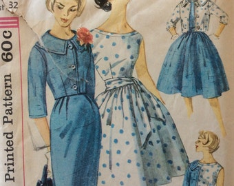 Simplicity 3340 misses dress, jacket and sash size 12 bust 32 vintage 1950's sewing pattern