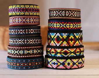 Bohemian jacquard ribbon, Embroidery Vintage Jacquard Border Trim Woven Trim, 11 styles available - by 2 yards