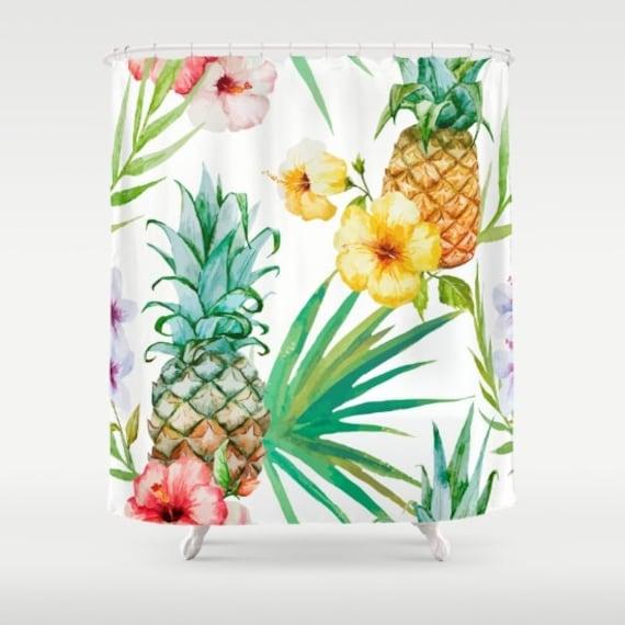 pineapple shower curtain pineapple fabric shower curtain tropical botanical print girls bathroom palm leaf fabric floral