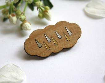 Cloud brooch, nimbus wedding accessory, natural wood wooden jewellery, bridemaids gift, gold silver color rain weather jewel, made in France