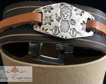 Silky Bear Fine Silver Focal Black Leather Cuff Handmade Handcut OOAK Leopard Print Clasp, Ladies, Adult