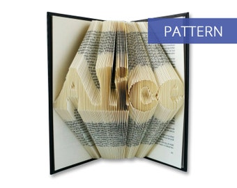 Folded Book Art Pattern - Custom Name or Word - Including manual - Bookfolding Pattern - Folded Book Pattern - Book Folding pattern