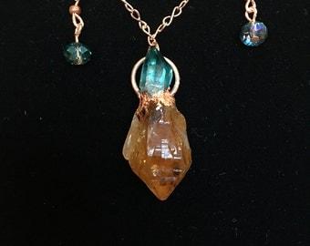 Citrine and Aquamarine Pendant