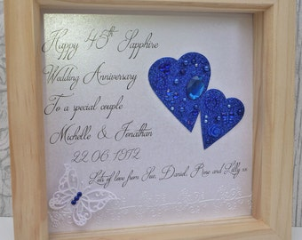 45th anniversary gift,45th wedding anniversary gift, sapphire anniversary,65th anniversary gift,65th anniversary present,personalised frame