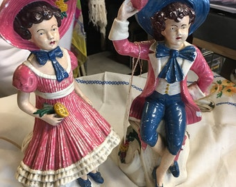 Pair of Victorian children lamps made of chalk ware original paint boudoir lighting