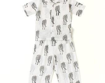 Cotton kids wear, play wear, Organic Baby pants and shirt set, Handmade kids clothing, B/W Zebra print, Matching shirts & pants set