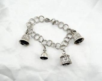 A Tinkling Of Bells...In This Fun Vintage Sterling Silver Bell Bracelet  #BELLS-LB3
