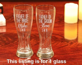 1 Father of the Bride, Father of the Groom Beer Glass, Father of the Bride Gift, Father of the Groom Gift, Personalized Beer Glass, 1 Glass