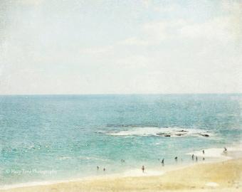 Beach Wall Art, Photography Print, Bedroom Wall Decor, Aerial Beach Photo, Laguna Beach California Picture Ocean Photograph Coastal Surf Art
