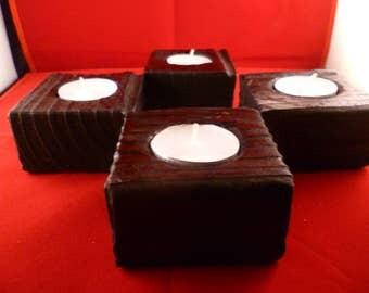 Burnt wood single tee light holder