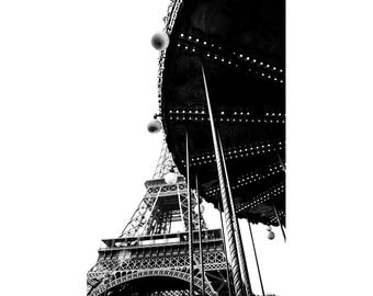Paris Photograph, Eiffel Tower, Carousel, Merry Go Round, Travel Photography, Black and White Picture for Living Room, Large Wall Decor