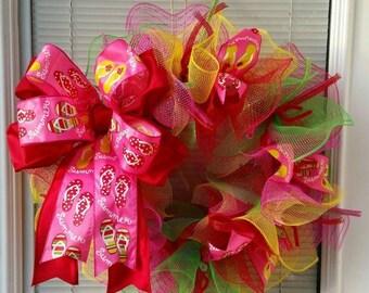 SALE Flip Flop Wreath, Summer Wreath, Seasons Wreath,  Deco Mesh Wreath,  Ribbon Wreath, Beach Wreath, Bow