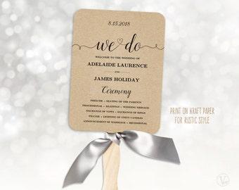 Wedding Fans, Wedding Program Template, Printable Wedding Programs, Rustic Kraft Paper Program, INSTANT DOWNLOAD, We Do VW02