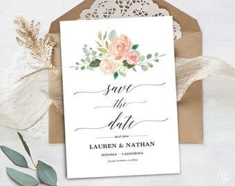 Peach Blush Floral Save the Date Template, Printable Save the Date Card, Wedding Save the Date, Editable Text, 5x7, Peach Blush