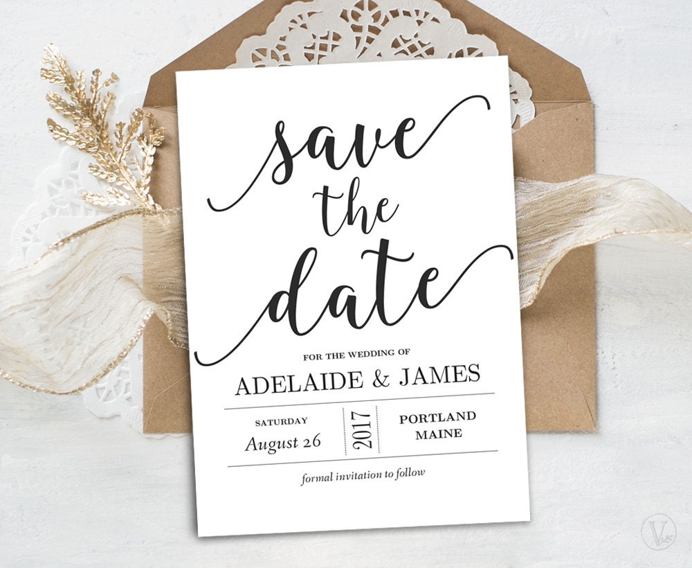 save the date template printable save the date card instant