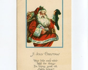 Vintage Christmas Postcard Santa Claus Filling Stockings Gifts Toys Dolls Drums Horns Balls to North Stratford New Hampshire ~  7279Pb