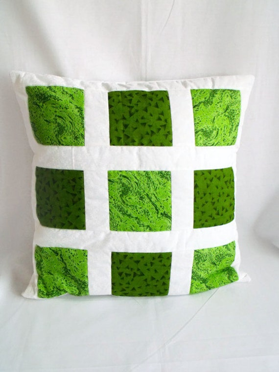 throw accent pillow, patchwork cushion cover, scatter cushion, quilted pillow slip, green fabric, 17.5 x 17.5