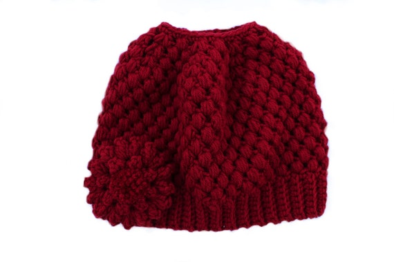 Ready to Ship**Free Shipping/Messy Bun Hat/Red Crochet Bun Beanie Hat/Messy Bun Beanie/Bun Beanie/Ponytail Hat/Knit Knitted Bun Beanie Hat