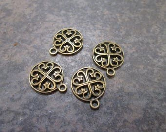 DOLLAR DAYS Small Clover Heart charms Antique Bronze Finish perfect for adjustable bangle bracelets Irish Charms Package of 4 charms