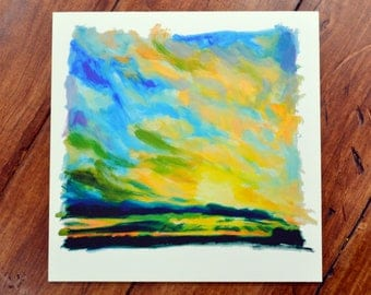 Sunset over the fields - fine art print, limited edition giclee, British landscape art, sunset