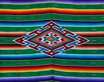 Vintage 40's 50's Mexican saltillo serape blanket / very large, wool green pink blue w fringe