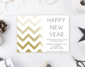 New Years Eve Party Invitation, New Years Invitation, NYE Invites, NYE Invitation, Printable NYE Invitation, New Years Eve Invites [116]
