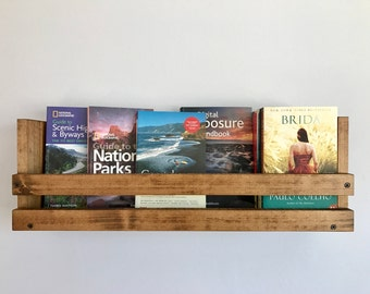 Rustic book shelf, Kids book storage, Book shelf, Playroom storage, Wall mounted book storage