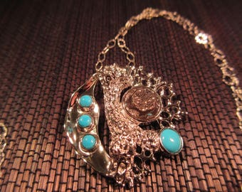Trendy Sterling Silver Turquoise Necklace