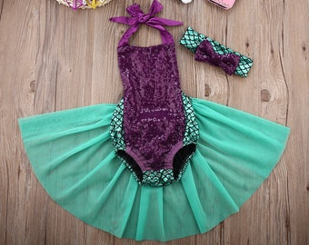Baby Girls Sequins Summer Mermaid TuTu Romper and Headband | Baby Shower Gift | Baby Girl Outfit | Birthday Outfit