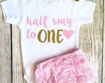 Half Birthday Outfit - Bodysuit, Bloomers, Leg Warmers, Party Hat - Photoshoot, Baby Girl 6 Month Cake Smash Photo Prop Gift Vest