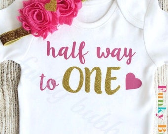 One Half Birthday - 6 Month Baby Girl Outfit - Hot Pink Gold Glitter Bodysuit & Headband - Photoshoot, Photo Prop Baby Shower Gift Onesie