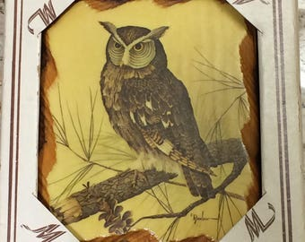 Small Vintage Owl Plaque in Original Box, Printed in USA