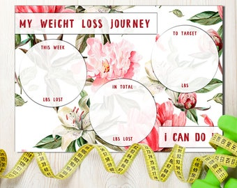 Weight Loss Tracker, Weight Tracker, Weight Target Overview, Keep on track, Diet Motivation Chart, Become slimmer of the week, Rose