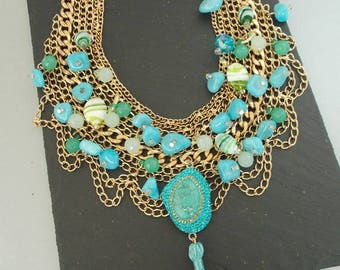 Turquoise Beaded and Tassel Statement Necklace