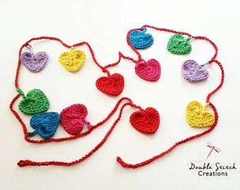 Crochet Heart Bunting - Crochet Hearts Garland / Rainbow Heart Garland / HomeDecor / ChildrenDecor / Gift Ideas / Teacher, Mum or Child Gift