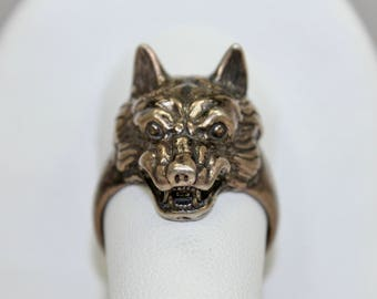 Vintage Mens Mans Ring 925 Sterling Silver Wolf 3-Dimensional Sz 9.5 Hallmarked c1970s