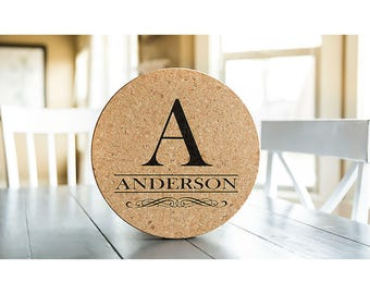 Personalized Jumbo Cork Trivets - 4 Trivets - Anderson Style