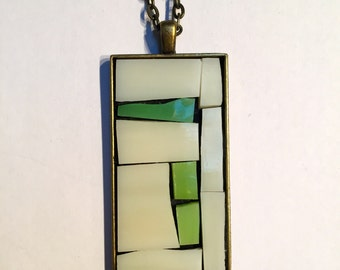 Stained-glass mosaic abstract rectangular pendant