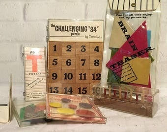 6 Vintage Puzzle Brain Teaser Games, Tangrams, Magnetic Pyramid, Pa's T Puzzle, The Challenging 34 Puzzle