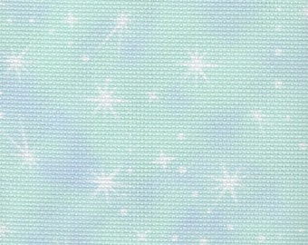 Fabric Flair -  Fairy Dust - Cloud Blue/Green 14 count Aida.  Piece approx 45 x 50cm