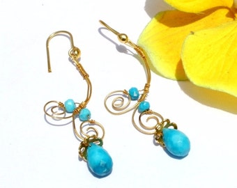 22k Gold Vermeil Turquoise Gemstone Wire Wrapped Earrings - Turquoise Earrings - Handmade Gemstone Earring Everyday Jewelry N217