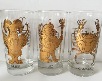 Vintage Zodiac Sign Tumblers...Astrology Theme Highball Glasses...Mid Century Modern Barware...Horoscope Design Glasses...