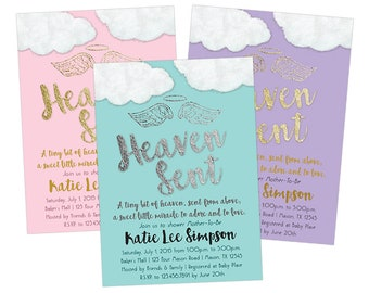 Printable Heaven Sent Baby Shower Invitations - DIY Boy Baby Shower - Girl Baby Shower - Bit of Heaven Baby Shower Invites Pink Blue Rustic
