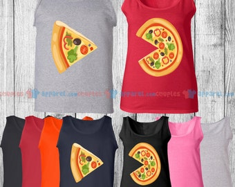 Pizza & The Slice - Matching Couple Tank Top - His and Her Tank Tops - Love Tank Tops