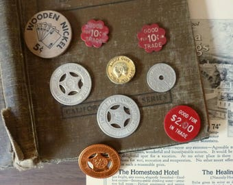 Vintage Collectible Coins / Good Luck Coins / Tax Tokens / Trade Tokens / Wooden Nickle
